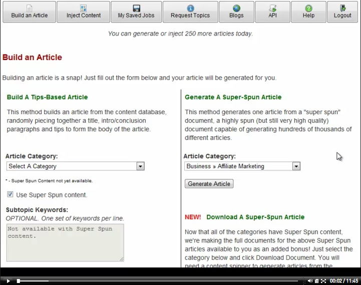 Article Builder Video